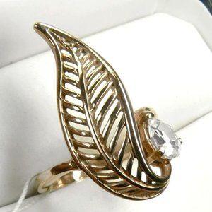 Leaf 18K Rose Gold over Sterling SILVER Ring 7.5